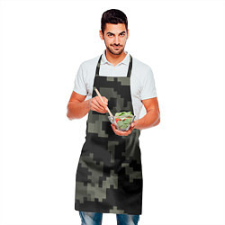 Фартук кулинарный Камуфляж пиксельный: черный/серый цвета 3D — фото 2