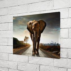 Холст прямоугольный Дикий слон цвета 3D — фото 2