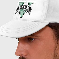 Бейсболка GTA V: Logo цвета белый — фото 2