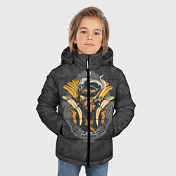 Детская зимняя куртка для мальчика с принтом Камуфляжная обезьяна, цвет: 3D-черный, артикул: 10100551406063 — фото 2