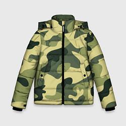 Куртка зимняя для мальчика Камуфляж: зеленый/хаки цвета 3D-черный — фото 1