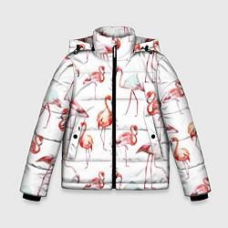 Куртка зимняя для мальчика Действия фламинго цвета 3D-черный — фото 1