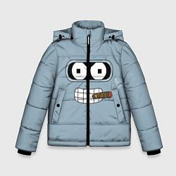 Детская зимняя куртка для мальчика с принтом Лицо Бендера, цвет: 3D-черный, артикул: 10110983306063 — фото 1