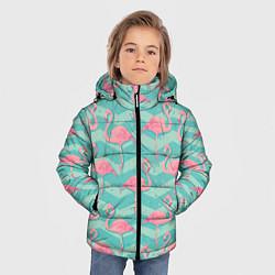 Куртка зимняя для мальчика Flamingo Pattern цвета 3D-черный — фото 2