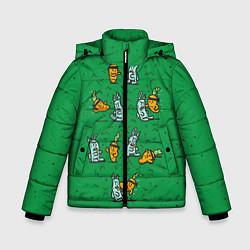 Детская зимняя куртка для мальчика с принтом Боевая морковь, цвет: 3D-черный, артикул: 10117527206063 — фото 1