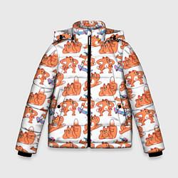Куртка зимняя для мальчика Стикеры с лисом цвета 3D-черный — фото 1