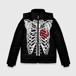 Куртка зимняя для мальчика Кукрыниксы: Скелет цвета 3D-черный — фото 1