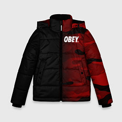 Куртка зимняя для мальчика Obey Military Black Red цвета 3D-черный — фото 1