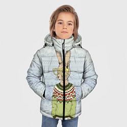 Куртка зимняя для мальчика Кролик хипстер цвета 3D-черный — фото 2