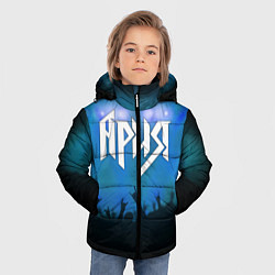 Детская зимняя куртка для мальчика с принтом Ария, цвет: 3D-черный, артикул: 10143033306063 — фото 2