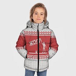 Куртка зимняя для мальчика Жопа: Зимний узор цвета 3D-черный — фото 2