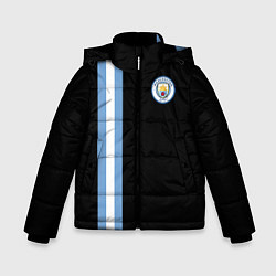 Детская зимняя куртка для мальчика с принтом Манчестер Сити, цвет: 3D-черный, артикул: 10147107706063 — фото 1