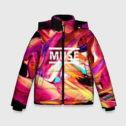 Куртка зимняя для мальчика MUSE: Neon Colours цвета 3D-черный — фото 1