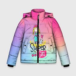 Куртка зимняя для мальчика SUPER GIRL цвета 3D-черный — фото 1