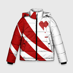 Детская зимняя куртка для мальчика с принтом Игра в сердца, цвет: 3D-черный, артикул: 10152698106063 — фото 1