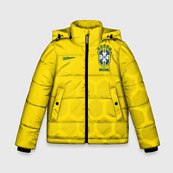 Детская зимняя куртка для мальчика с принтом Brazil Team: WC 2018, цвет: 3D-черный, артикул: 10154615706063 — фото 1