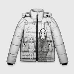 Детская зимняя куртка для мальчика с принтом Унесенные призраками, цвет: 3D-черный, артикул: 10155884106063 — фото 1