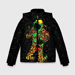 Куртка зимняя для мальчика Космонавт с кальяном цвета 3D-черный — фото 1