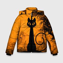 Куртка зимняя для мальчика Halloween Cat цвета 3D-черный — фото 1