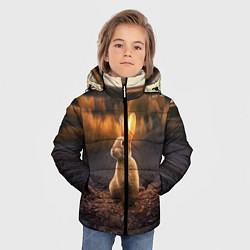 Детская зимняя куртка для мальчика с принтом Солнечный зайчик, цвет: 3D-черный, артикул: 10164198706063 — фото 2