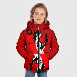 Куртка зимняя для мальчика Дама бубен цвета 3D-черный — фото 2