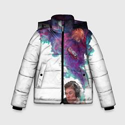 Куртка зимняя для мальчика Илон Маск курит космос цвета 3D-черный — фото 1