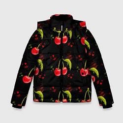 Куртка зимняя для мальчика Вишенки цвета 3D-черный — фото 1
