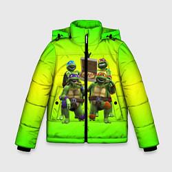 Куртка зимняя для мальчика ЧЕРЕПАШКИ - НИНДЗЯ цвета 3D-черный — фото 1
