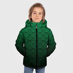 Куртка зимняя для мальчика Узор зеленая чешуя дракон цвета 3D-черный — фото 2