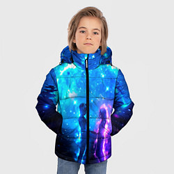 Куртка зимняя для мальчика Внеземная пара луна ночь цвета 3D-черный — фото 2