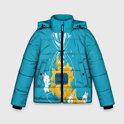 Куртка зимняя для мальчика Зайчики и печенье цвета 3D-черный — фото 1
