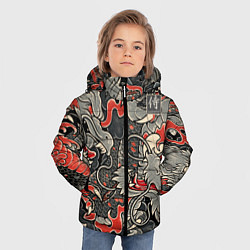 Куртка зимняя для мальчика Самурай Якудза, драконы цвета 3D-черный — фото 2