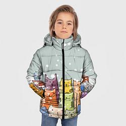 Куртка зимняя для мальчика Котики цвета 3D-черный — фото 2