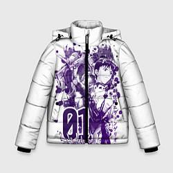 Детская зимняя куртка для мальчика с принтом Евангелион, EVA 01, цвет: 3D-черный, артикул: 10288265506063 — фото 1