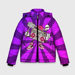 Куртка зимняя для мальчика Магнитофон делает сэлфи цвета 3D-черный — фото 1