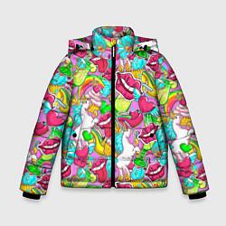 Куртка зимняя для мальчика Губы фреш цвета 3D-черный — фото 1