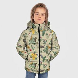Куртка зимняя для мальчика Зайчики с Цветочками цвета 3D-черный — фото 2