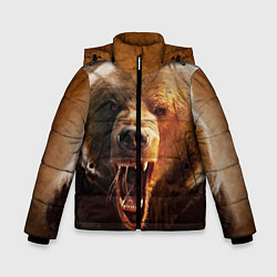 Куртка зимняя для мальчика Рык медведя цвета 3D-черный — фото 1