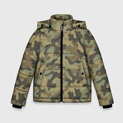 Куртка зимняя для мальчика Камуфляж: хаки цвета 3D-черный — фото 1
