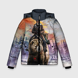 Детская зимняя куртка для мальчика с принтом Красноармеец на медведе, цвет: 3D-черный, артикул: 10071970406063 — фото 1