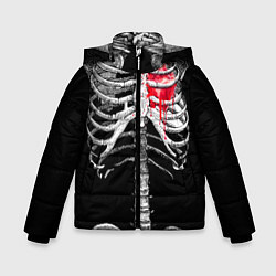 Куртка зимняя для мальчика Скелет с сердцем цвета 3D-черный — фото 1