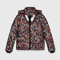 Куртка зимняя для мальчика Вязанный узор с галстуком цвета 3D-черный — фото 1