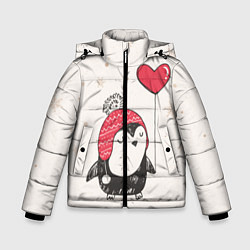 Куртка зимняя для мальчика Влюбленный пингвин цвета 3D-черный — фото 1