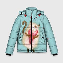 Куртка зимняя для мальчика Котик цвета 3D-черный — фото 1
