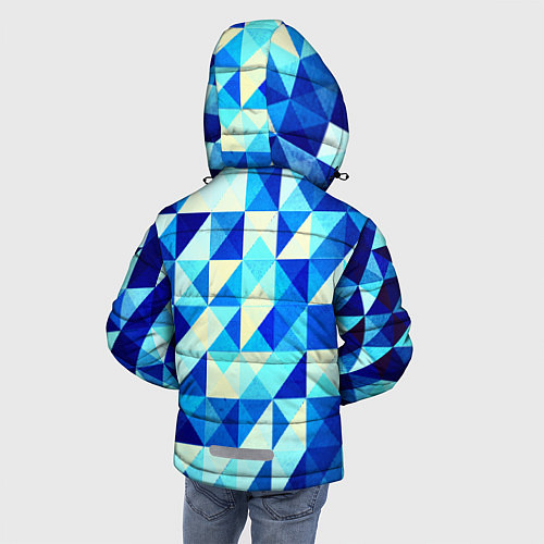 Зимняя куртка для мальчика Синяя геометрия / 3D-Черный – фото 4