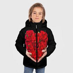 Детская зимняя куртка для мальчика с принтом Сердце роз в руках, цвет: 3D-черный, артикул: 10083686306063 — фото 2