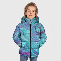 Детская зимняя куртка для мальчика с принтом Смесь красок, цвет: 3D-черный, артикул: 10086924806063 — фото 2