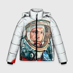 Детская зимняя куртка для мальчика с принтом Гагарин в полете, цвет: 3D-черный, артикул: 10092034406063 — фото 1