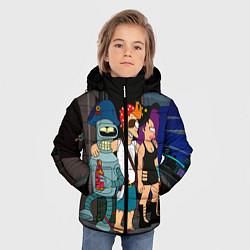 Детская зимняя куртка для мальчика с принтом Футурама пати, цвет: 3D-черный, артикул: 10092145706063 — фото 2