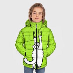 Куртка зимняя для мальчика Кот Симон на стене цвета 3D-черный — фото 2